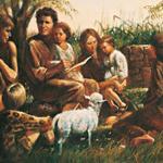 Adán y Eva enseñando a sus hijos mormon