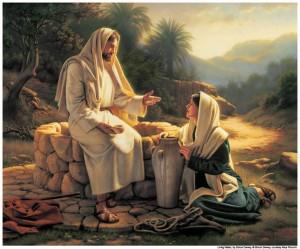 Jesus con mujer samaritana en el pozo