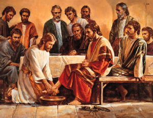 Jesús lavando los pies a los apóstoles